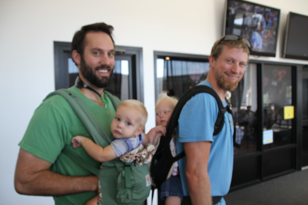 My sister Kaitlyn's husband Joel and son with my Eric and Ruthie.  Note, they both are wearing their babies in ergos.   Thankful for my wonderful husband who let me skydive!  He's the best.