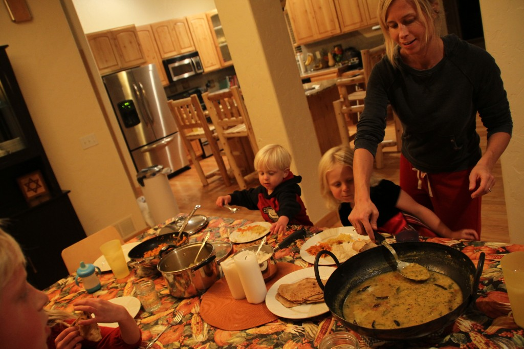 Cooking Indian food when we got home.  It's my favorite!