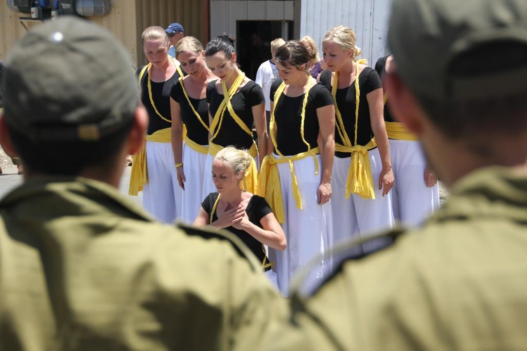 Dancing at an IDF base in Israel.